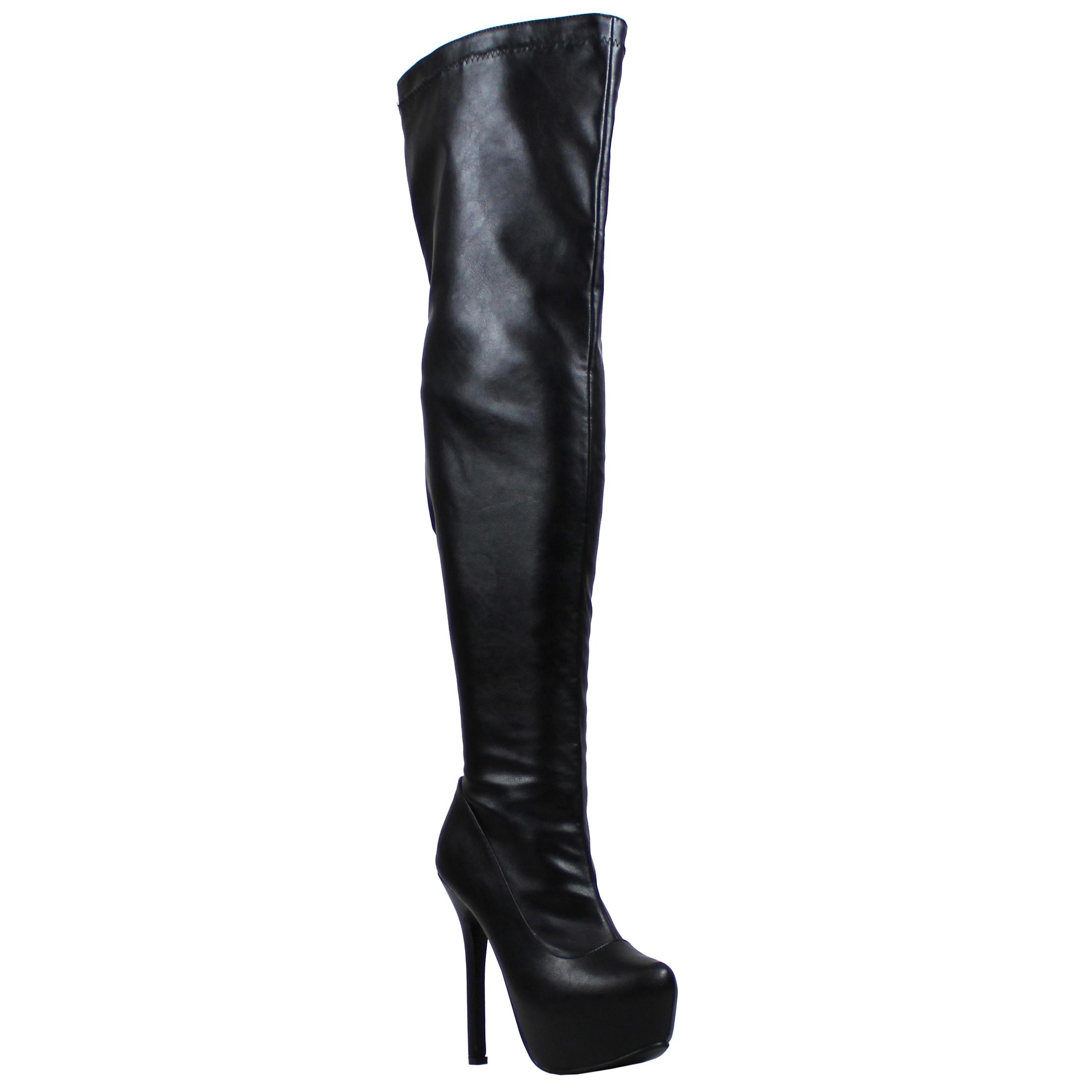 womens evening thigh high block heel winter wide fit