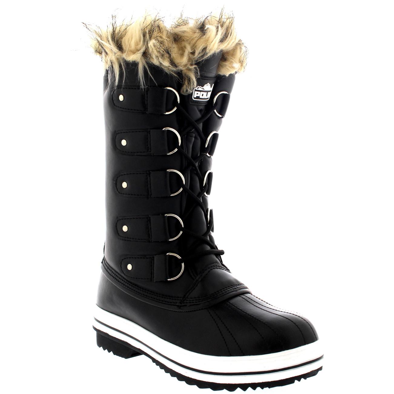 Womens Fur Cuff Lace Up Rubber Sole Tall Winter Snow Rain ...