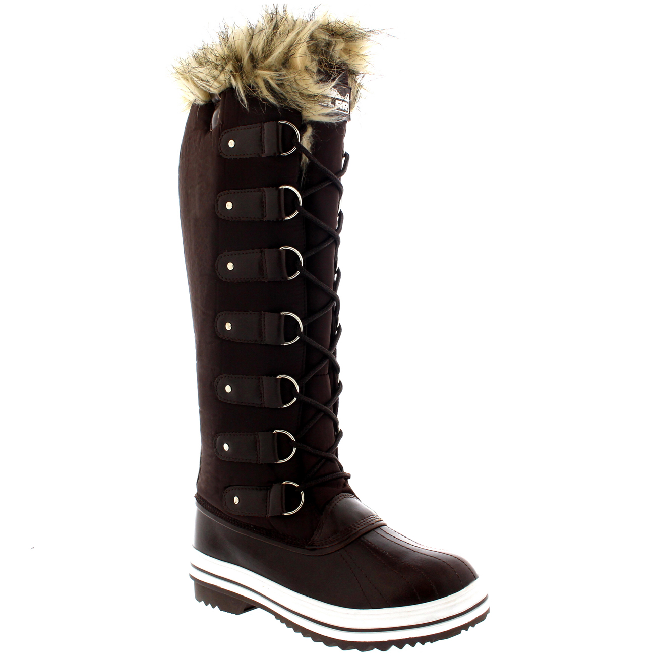 womens fur cuff lace up rubber sole knee high winter snow