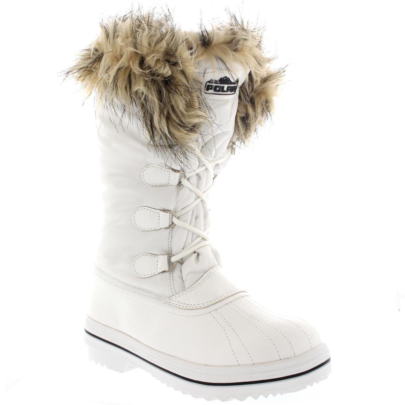 Womens Nylon Warm Fur Trim Duck Snow Waterproof Outdoor Tall Winter Rain Boots AS_9155
