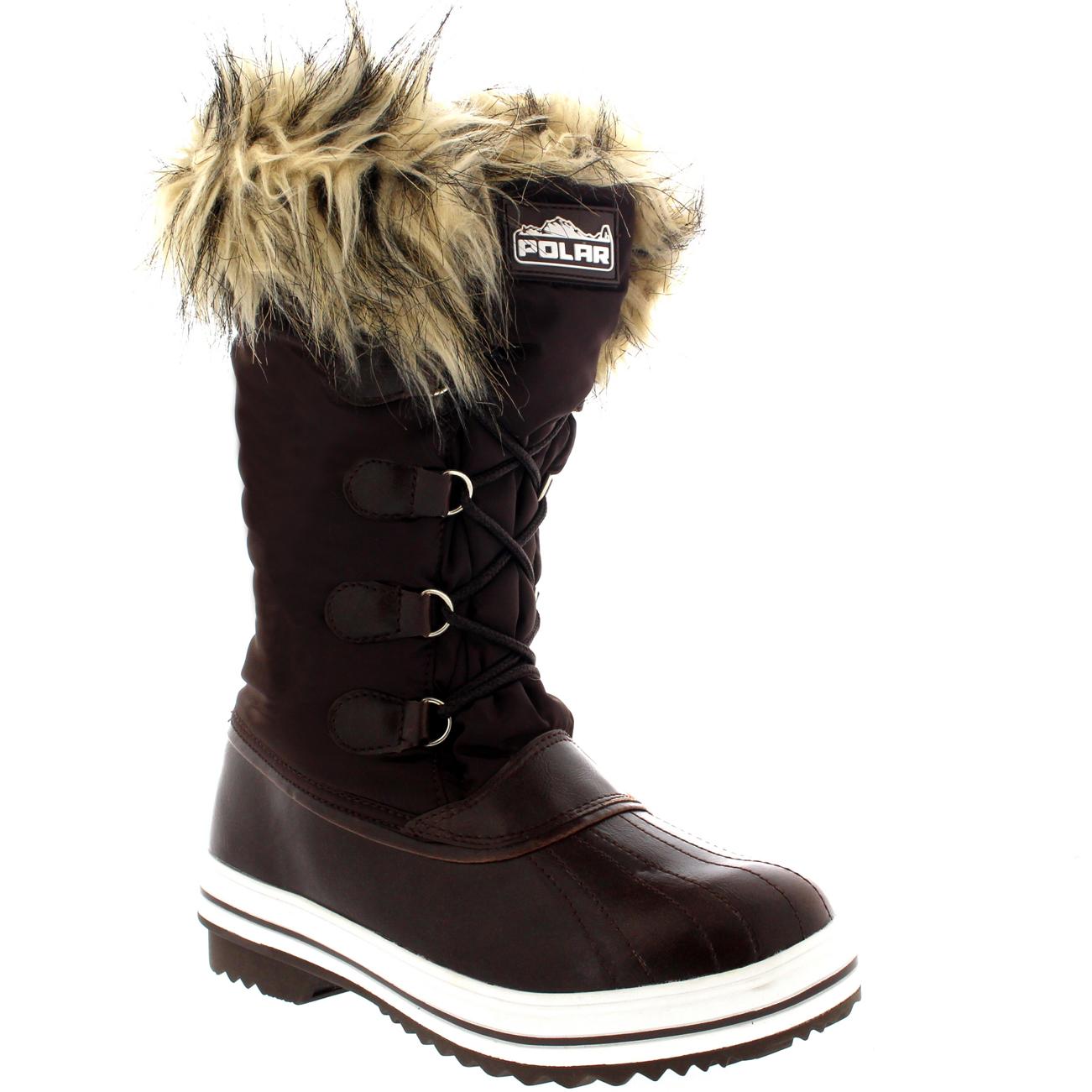 Womens Nylon Warm Fur Trim Duck Rain Snow Outdoor Tall Winter Rain ...