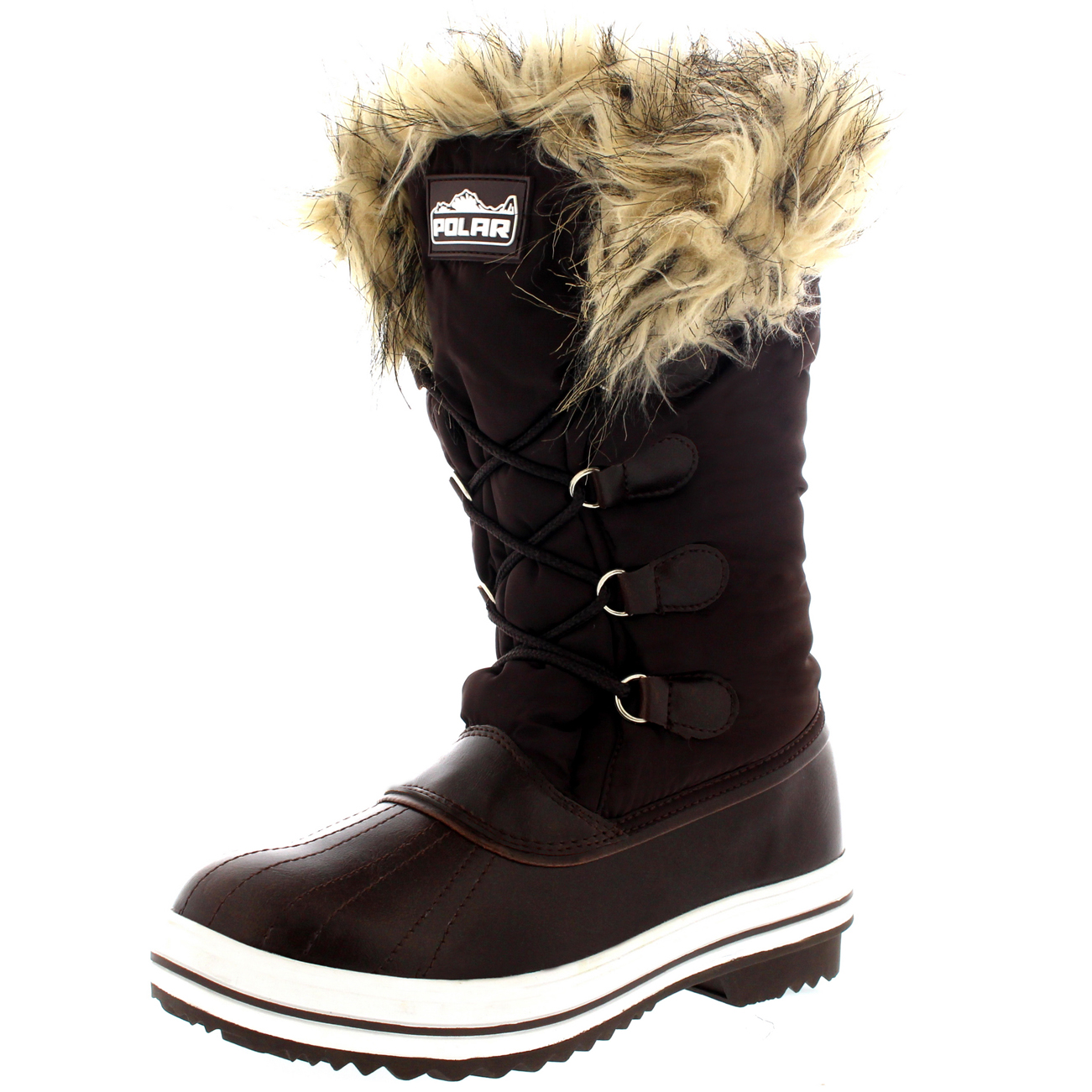 Womens Nylon Warm Fur Trim Duck Rain Snow Outdoor Tall Winter Rain ...