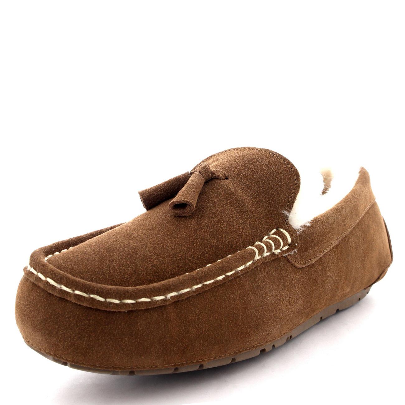 mens moccasins australian suede shoes loafers sheepskin tassel fur slippers 7 15 ebay
