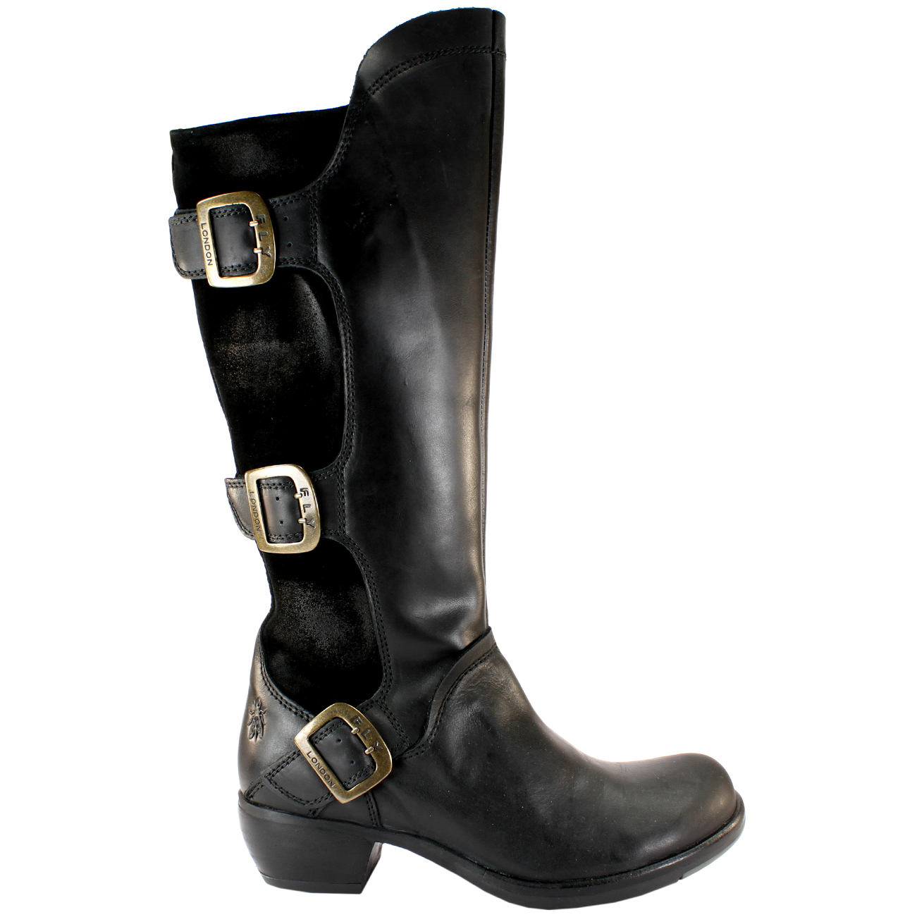 womens fly mynd leather suede three buckle wide