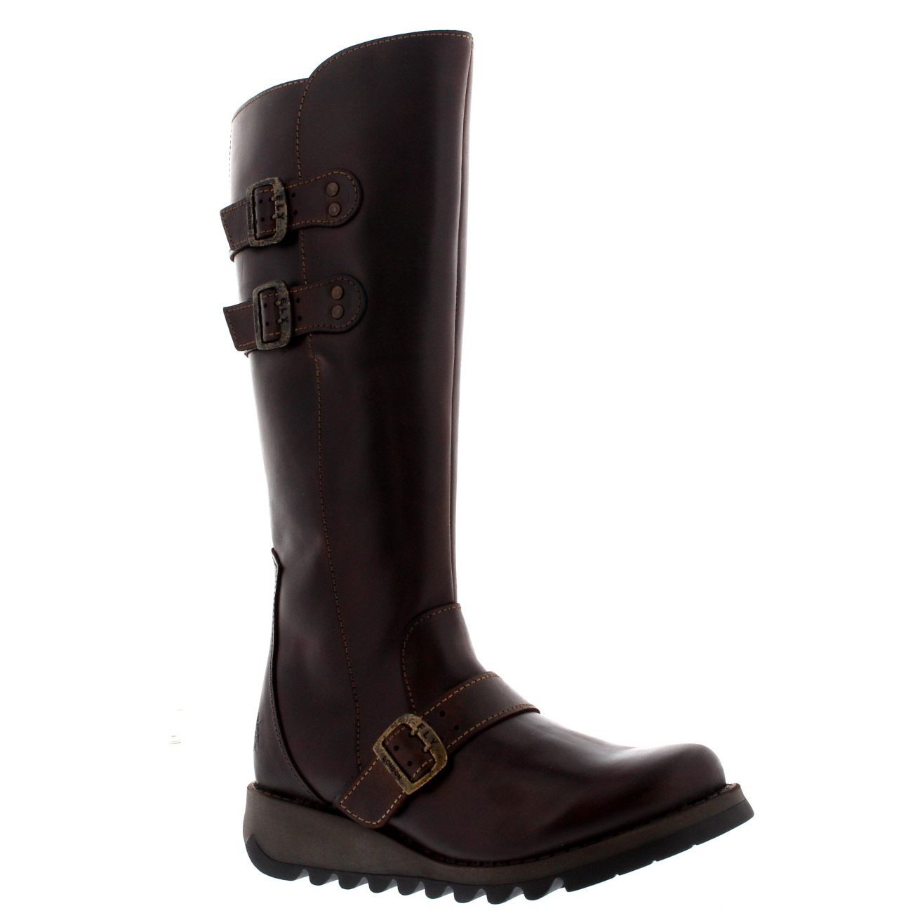 womens fly solv leather wedge winter knee