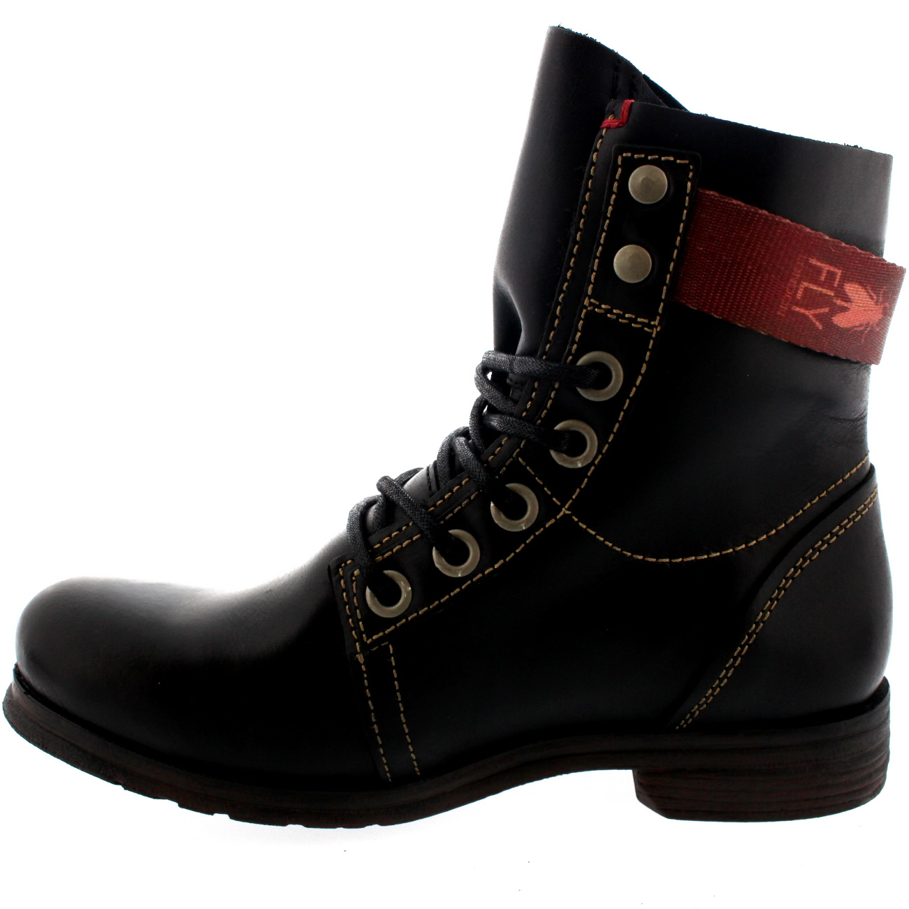 Womens Fly London Stay Military Biker Lace Up Buckle Leather Ankle ...