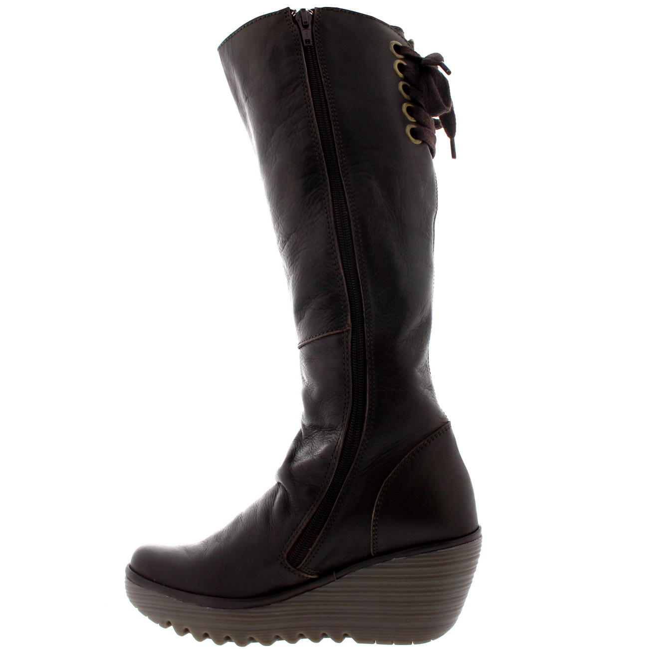 Womens Fly London Yust Knee High Wedge Heel Leather Snow Winter ...