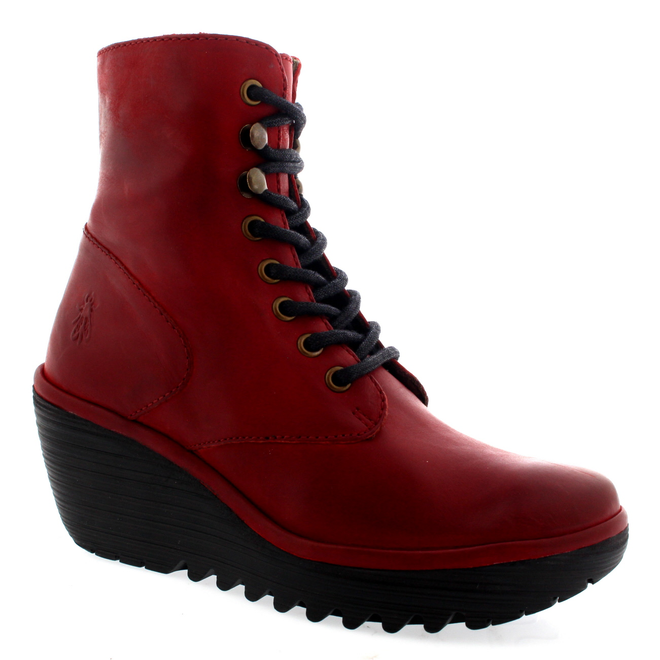 Womens Fly London Ygot Nevada Leather Wedge Heels Lace Up Ankle ...