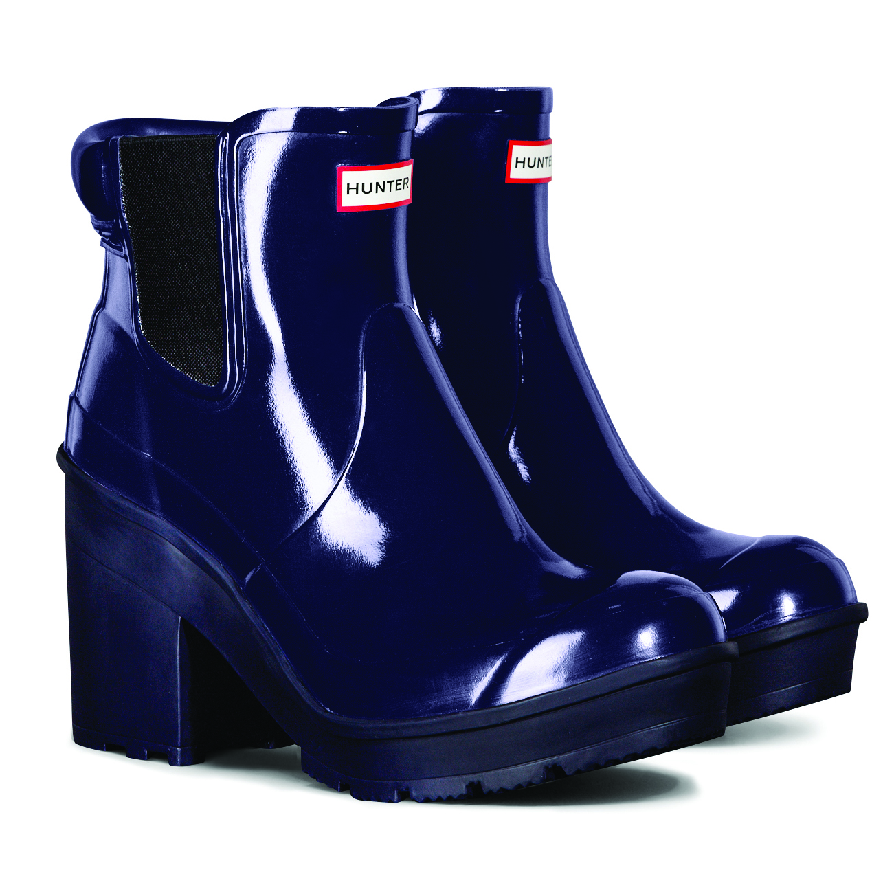 Popular Hunter UK | Womenu0026#39;s Original Block Heel Gloss Chelsea Boots | Official Site
