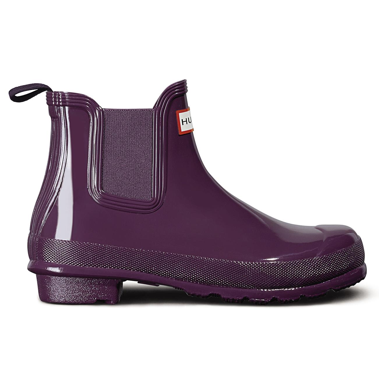 Womens Hunter Original Chelsea Gloss Wellingtons Winter Ankle Rain ...