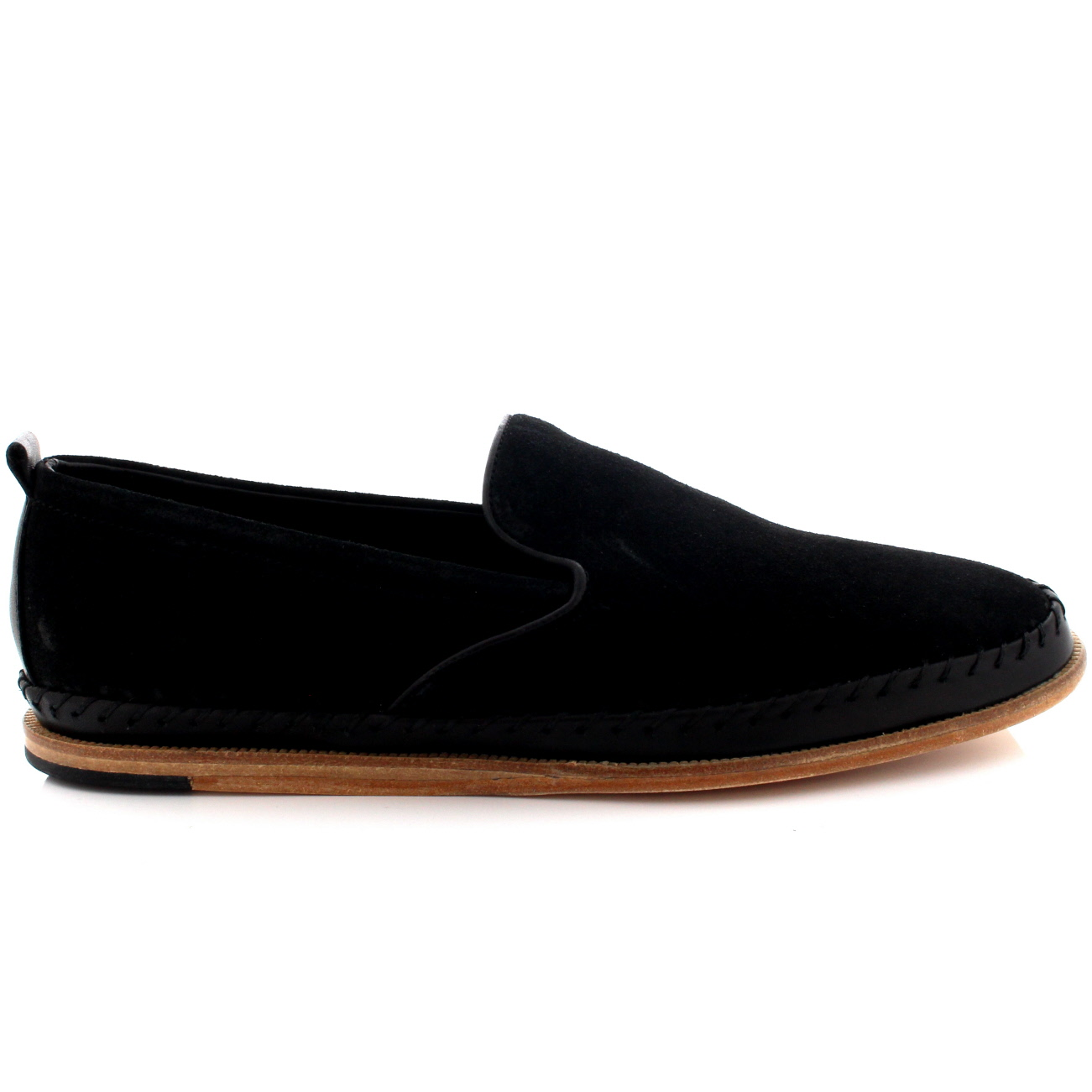 mens h by hudson macuco suede smart flat slip on casual