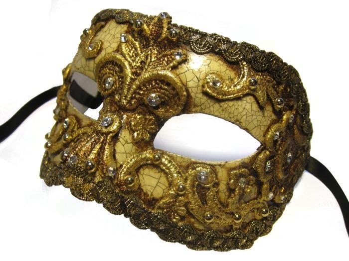 Venetian Masquerade Mask - Crystal Courtier Eyes Gold