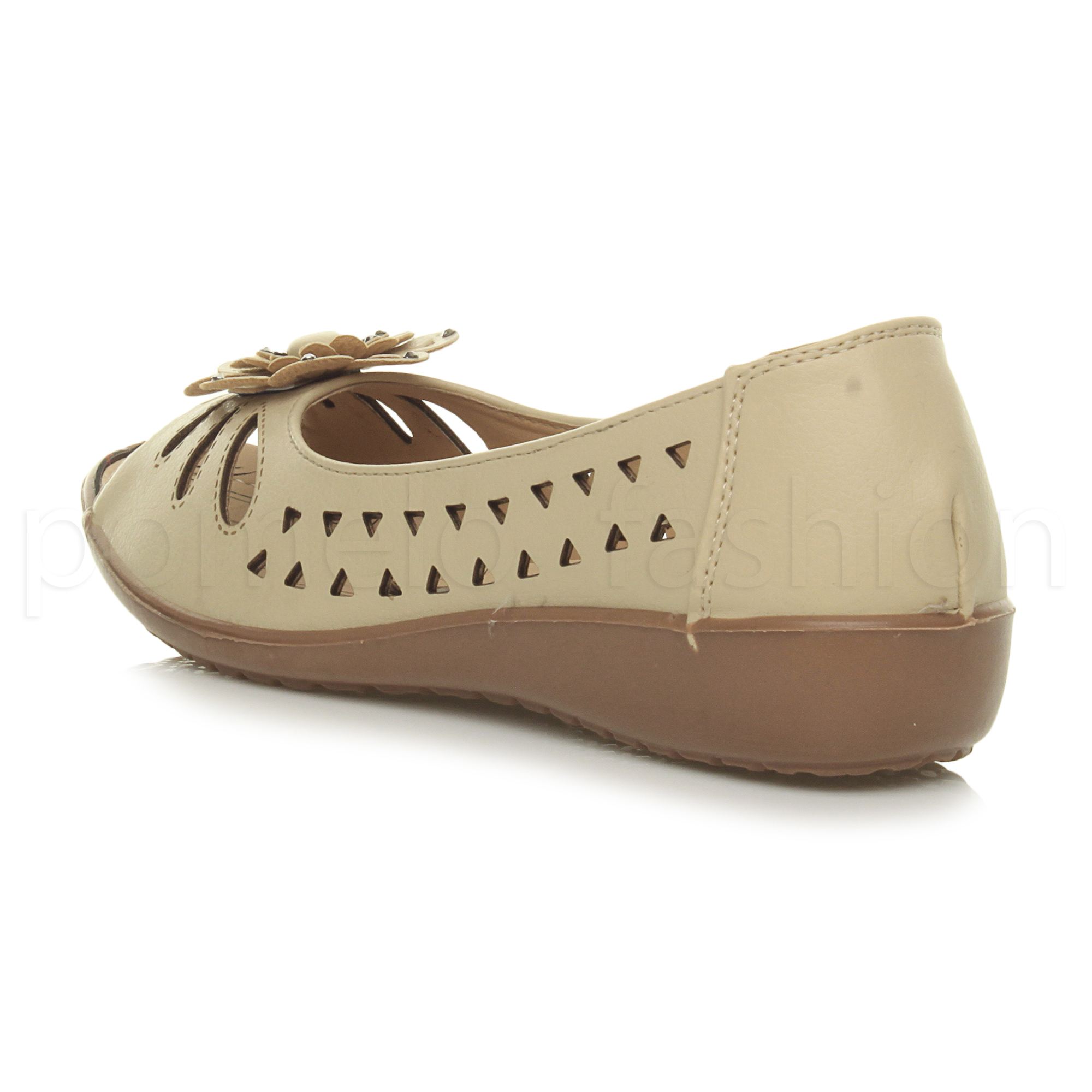 WOMENS LADIES LOW WEDGE FLOWER COMFORT PADDED WALKING SANDALS SLIP ON SHOES SIZE