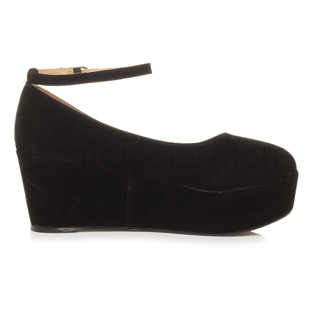 black strap wedge heels - photo #37