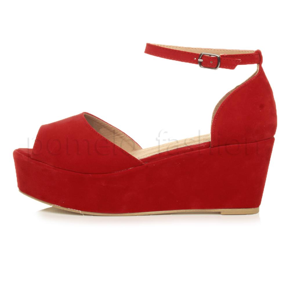 womens mid heel wedge platform flatform ankle