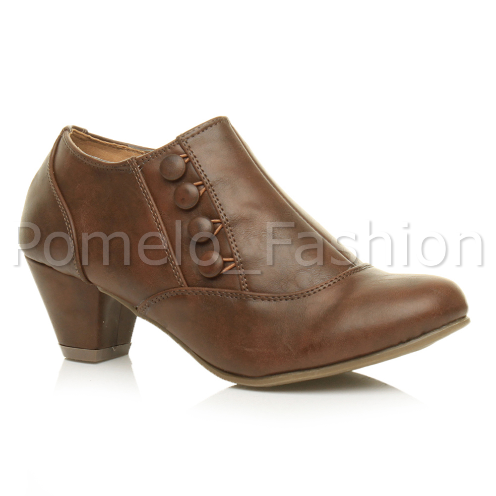 womens low mid cuban heel button smart work ankle