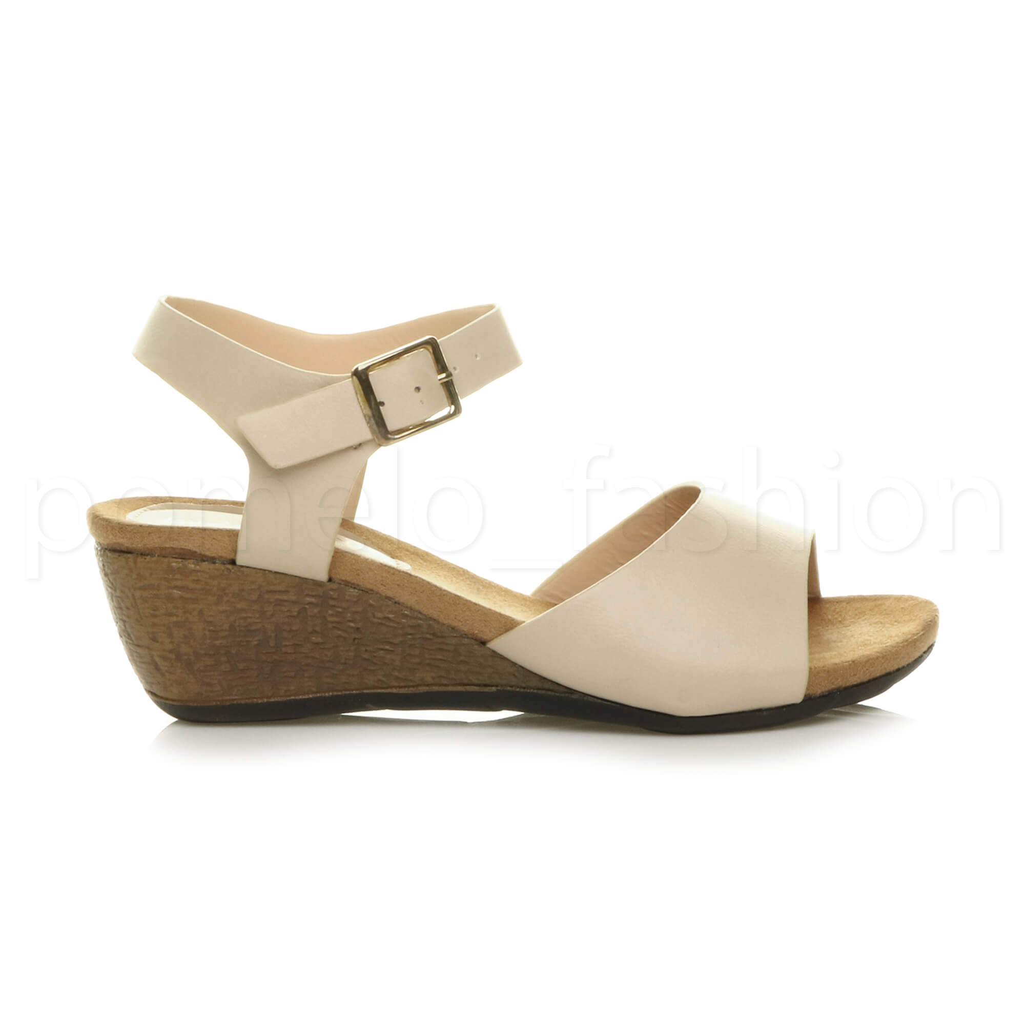 WOMENS LADIES LOW MID WEDGE HEEL ANKLE STRAP WORK SUMMER EVENING SANDALS SIZE