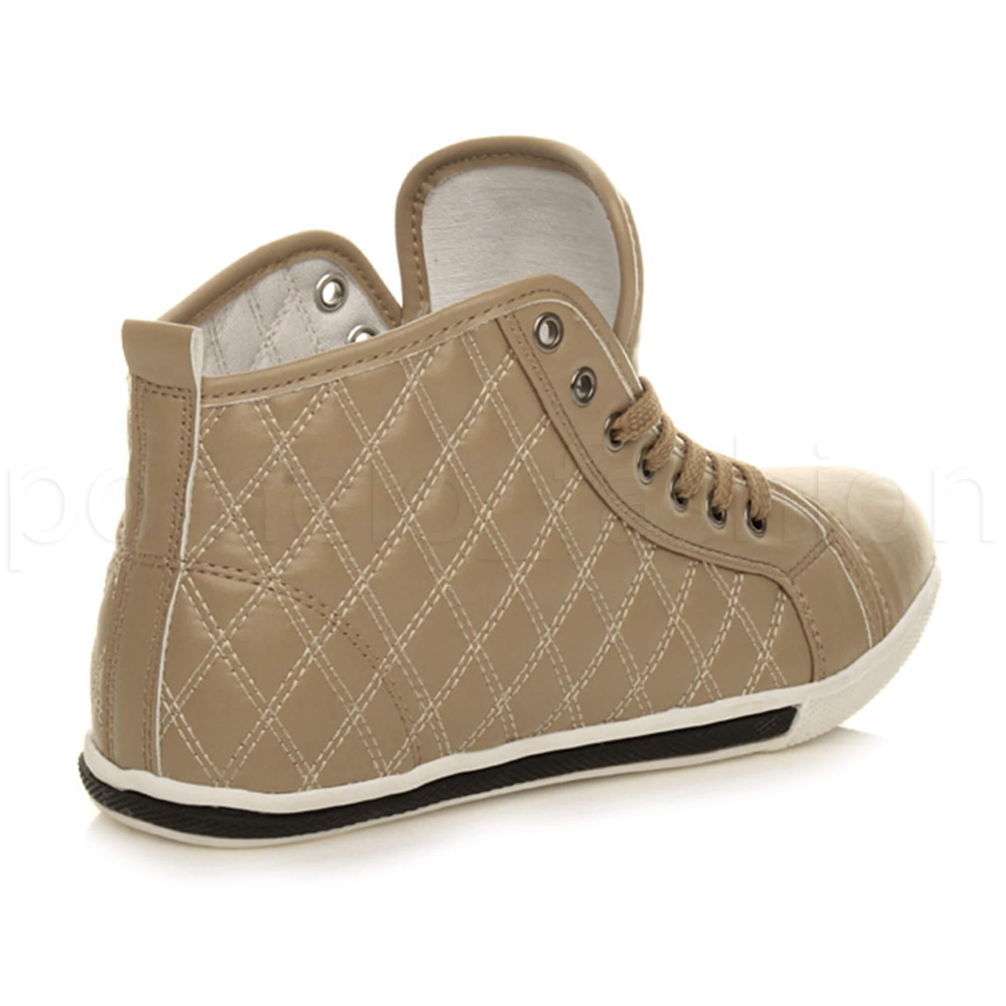 WOMENS LADIES FLAT TRAINERS QUILTED HI HIGH TOP PUMPS ANKLE BOOTS SHOES SIZE