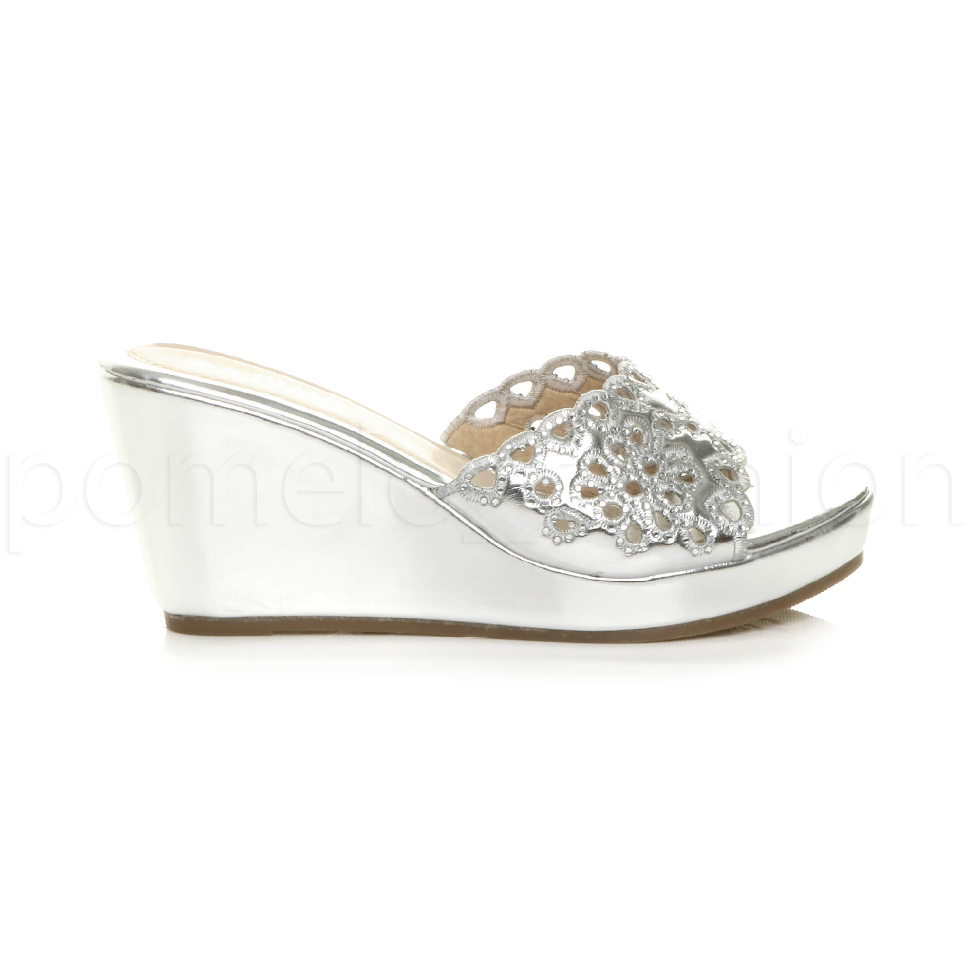 WOMENS LADIES PLATFORM HIGH WEDGE CUT OUT SLIP ON DIAMANTE MULES SANDALS SIZE