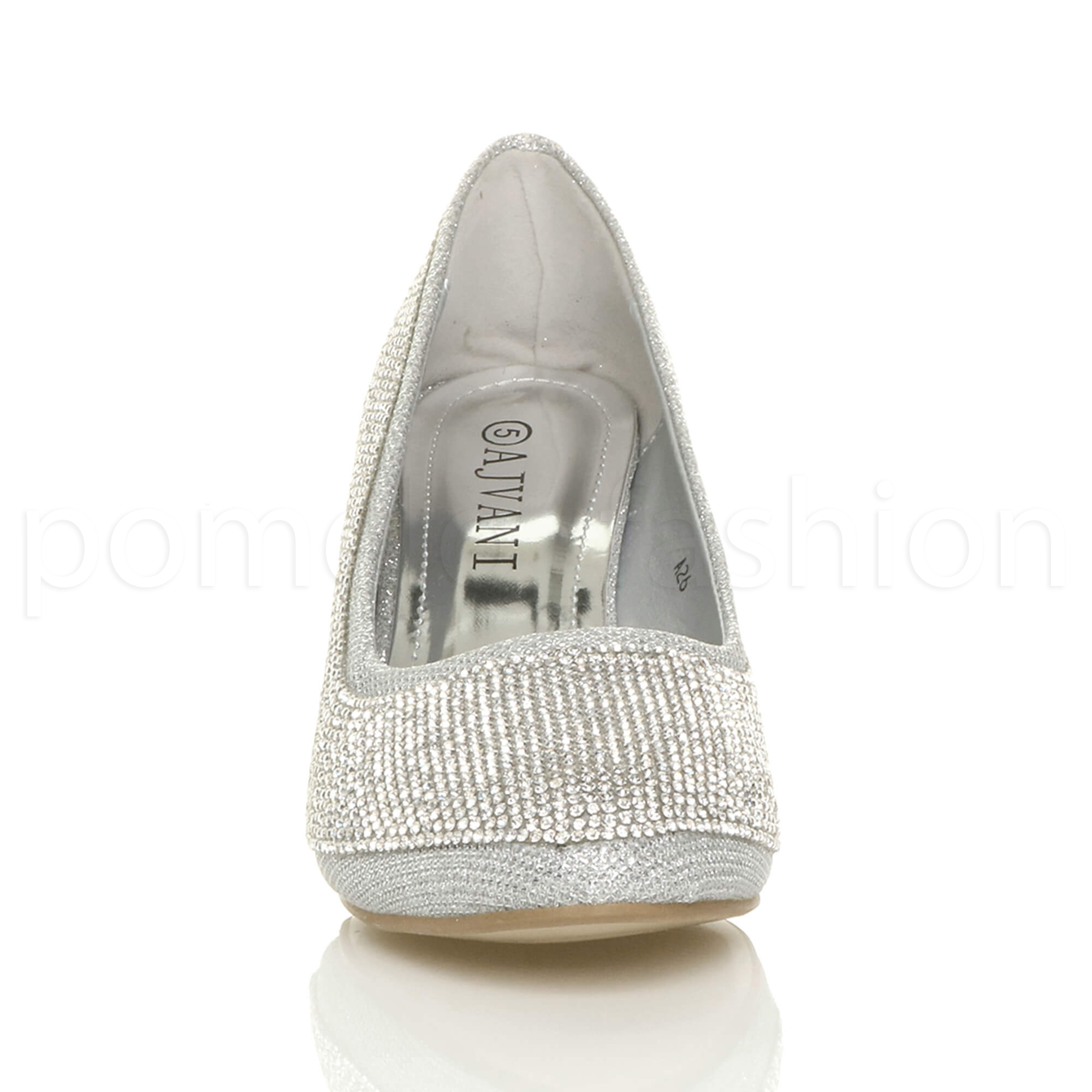 WOMENS LOW HEEL WEDGE DIAMANTE EVENING WEDDING PROM BRIDAL COURT SHOES SIZE
