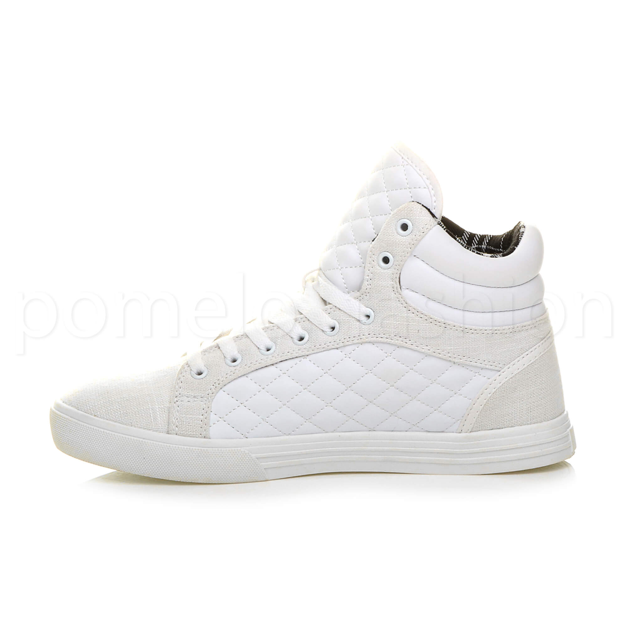 MENS QUILTED FLAT LACE UP HI HIGH TOP ANKLE TRAINER BOOTS SNEAKERS SIZE