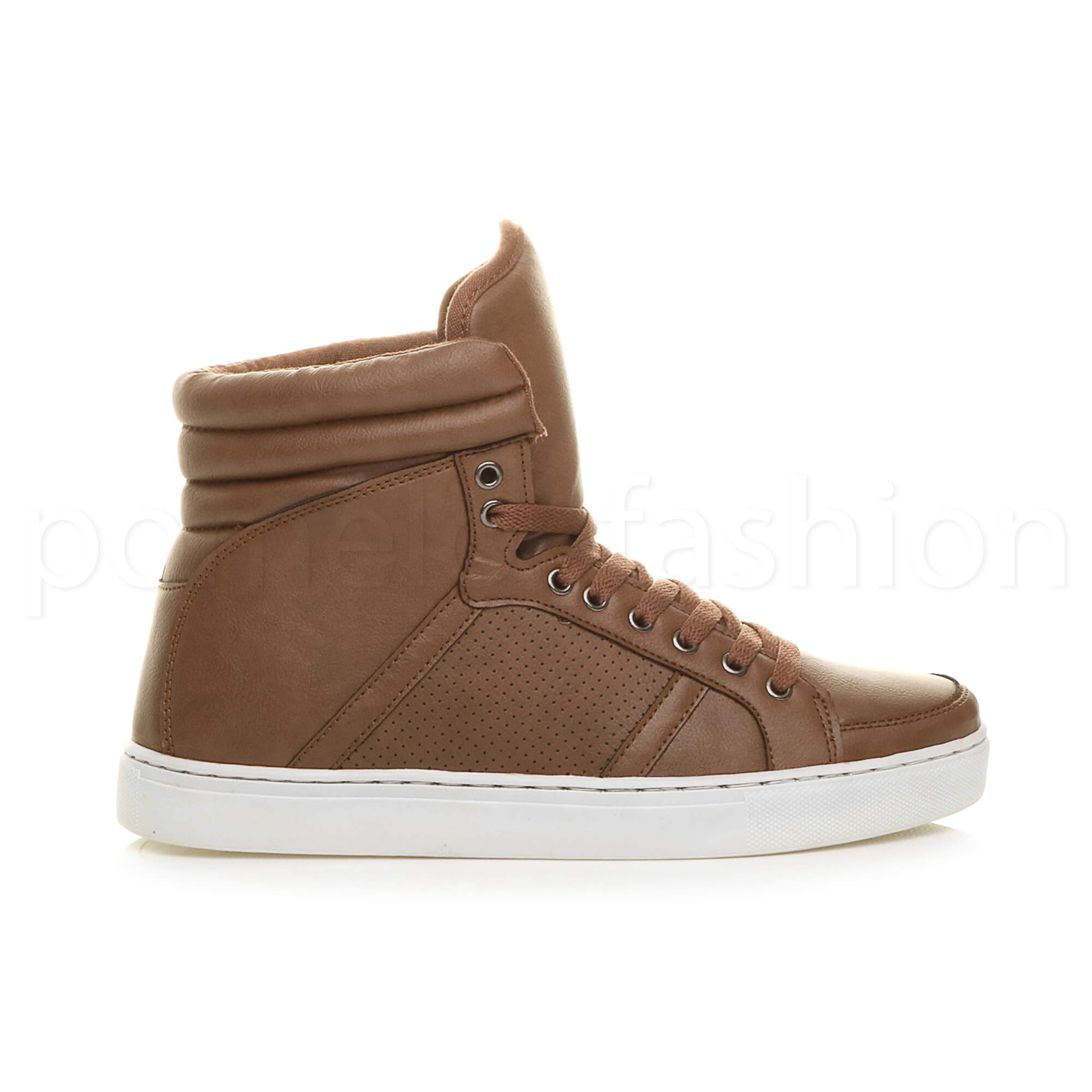 MENS CASUAL FLAT LACE UP HI HIGH TOP ANKLE TRAINER BOOTS ...