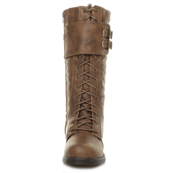 WOMENS-LADIES-LOW-HEEL-LACE-UP-CALF-ZIP-BUCKLE-MILITARY-WINTER-BOOTS-SIZE