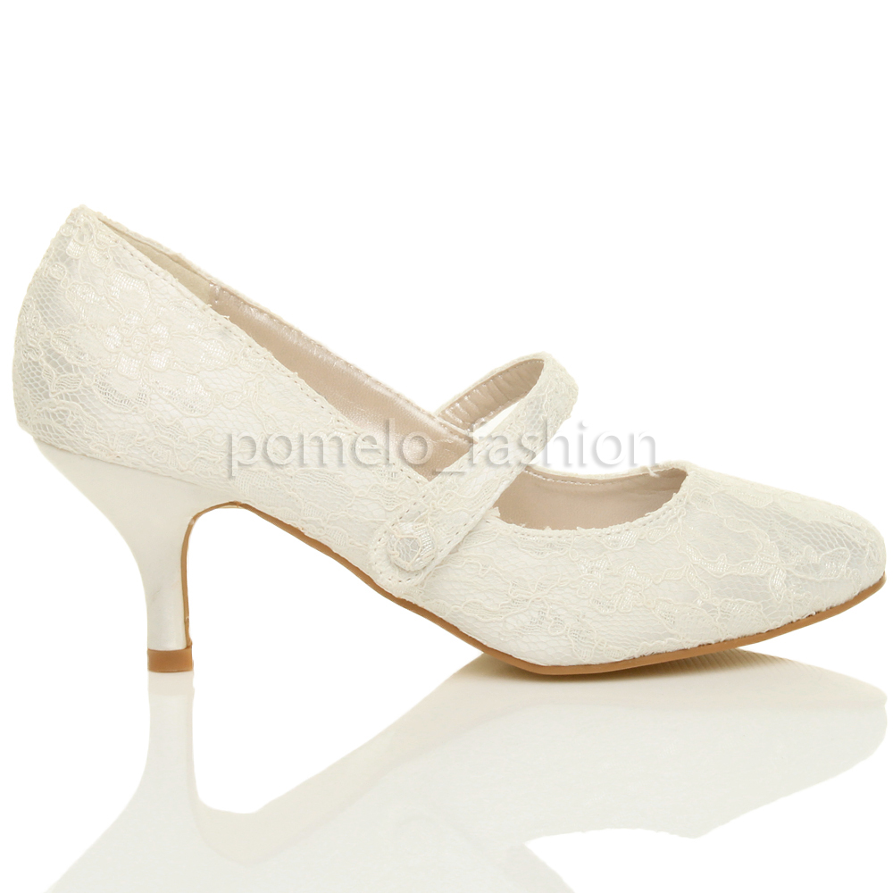 WOMENS MID LOW KITTEN HEEL MARY JANE STYLE WEDDING BRIDAL COURT SHOES SIZE