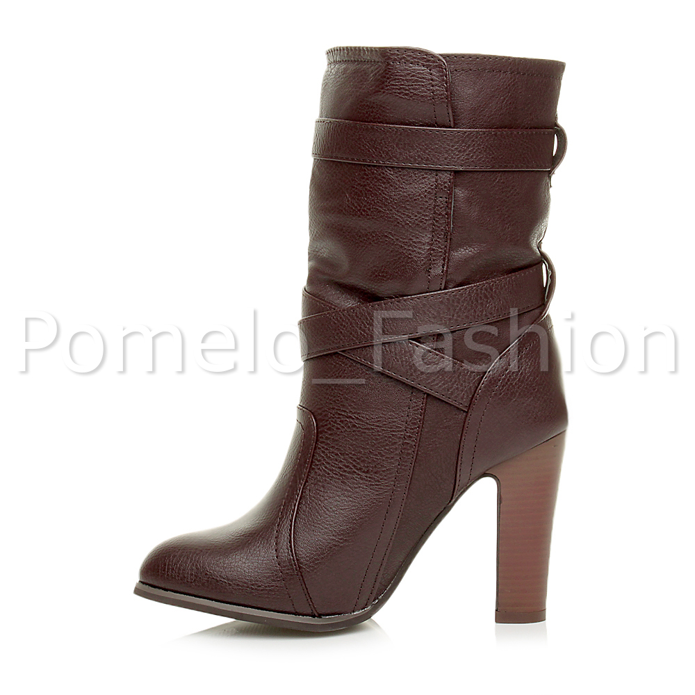 womens high heel buckle combat casual ankle
