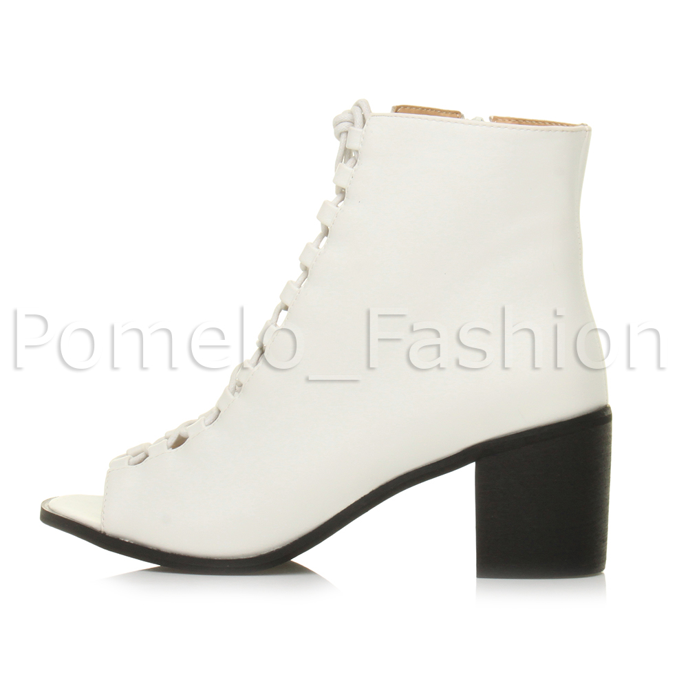womens mid heel lace up peep toe ankle boots