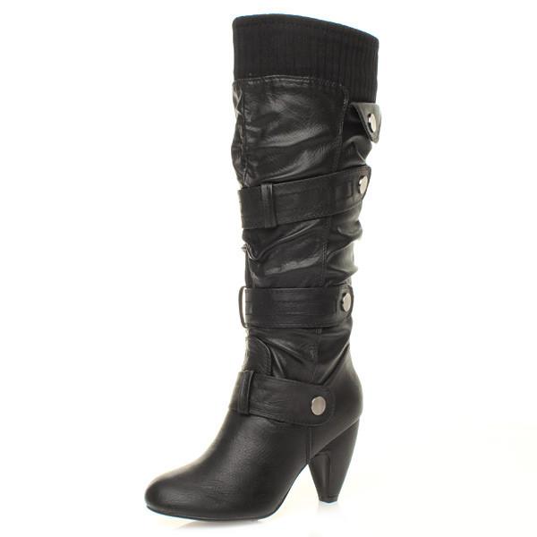 womens knee low heel buckle zip calf knitted collar