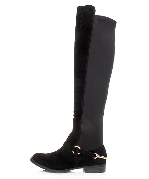 WOMENS LADIES HIGH OVER THE KNEE STRETCH PULL ON LOW HEEL BOOTS SIZE