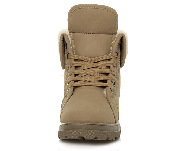 WOMENS-LADIES-FUR-CUFF-FLAT-MILITARY-ARMY-LACE-UP-WINTER-ANKLE-SHOES-BOOTS-SIZE