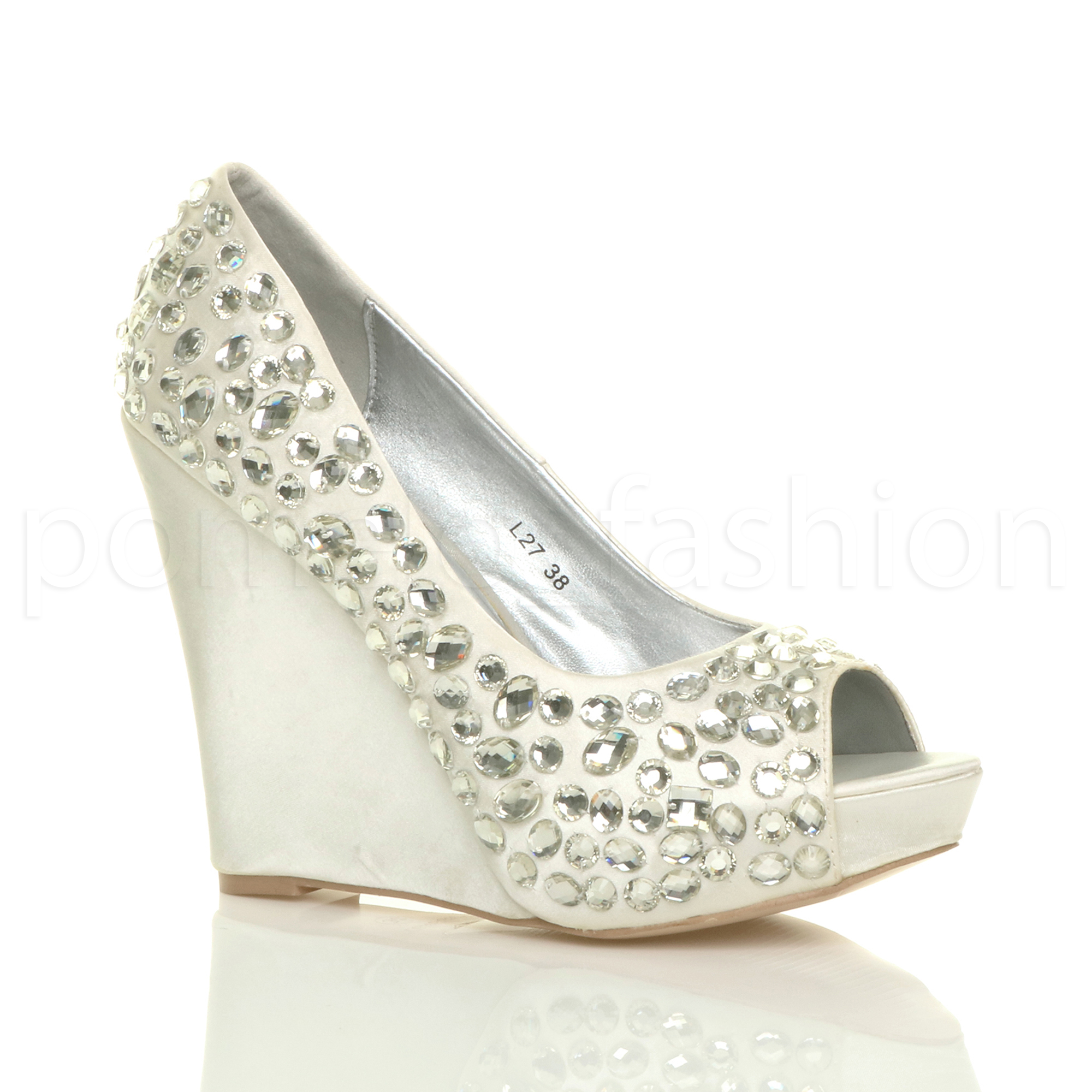 WOMENS WEDDING PLATFORM WEDGE LADIES BRIDAL SANDALS EVENING PROM SHOES SIZE | EBay