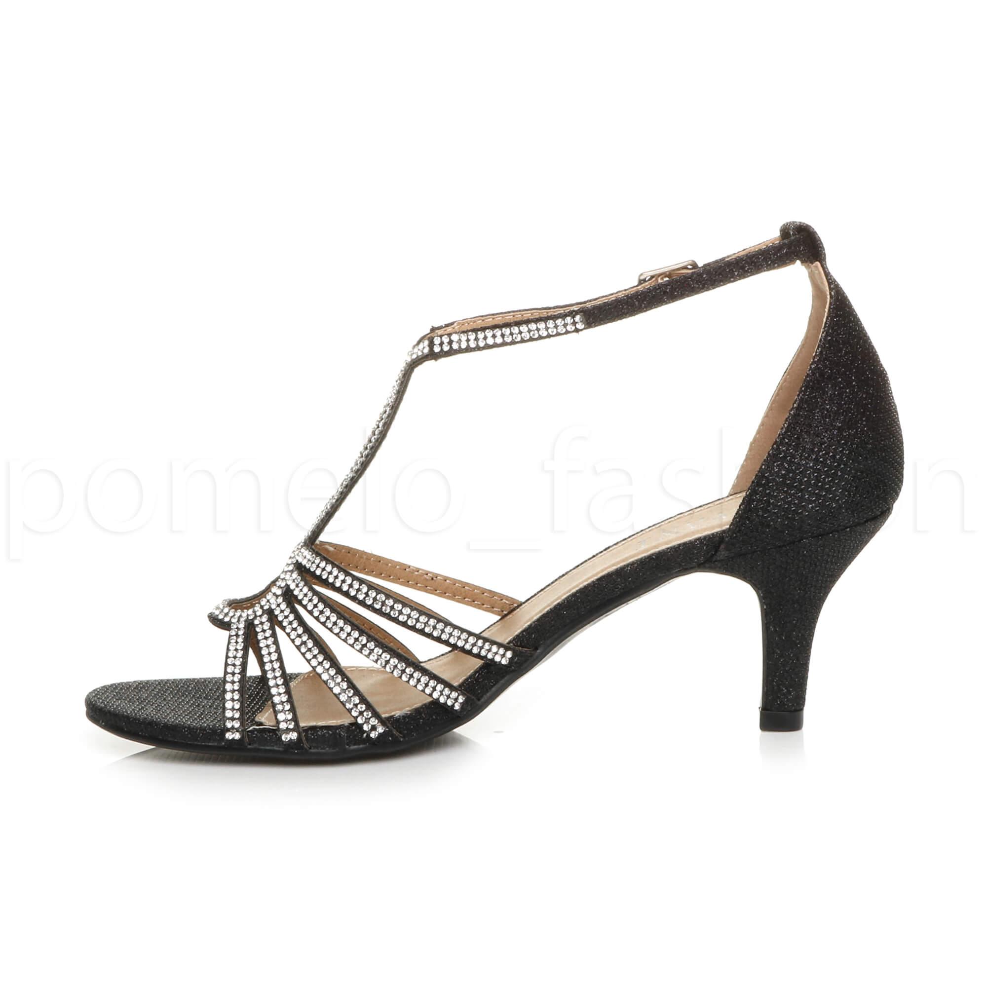 womens mid heel gems glitter strappy bridal cut out