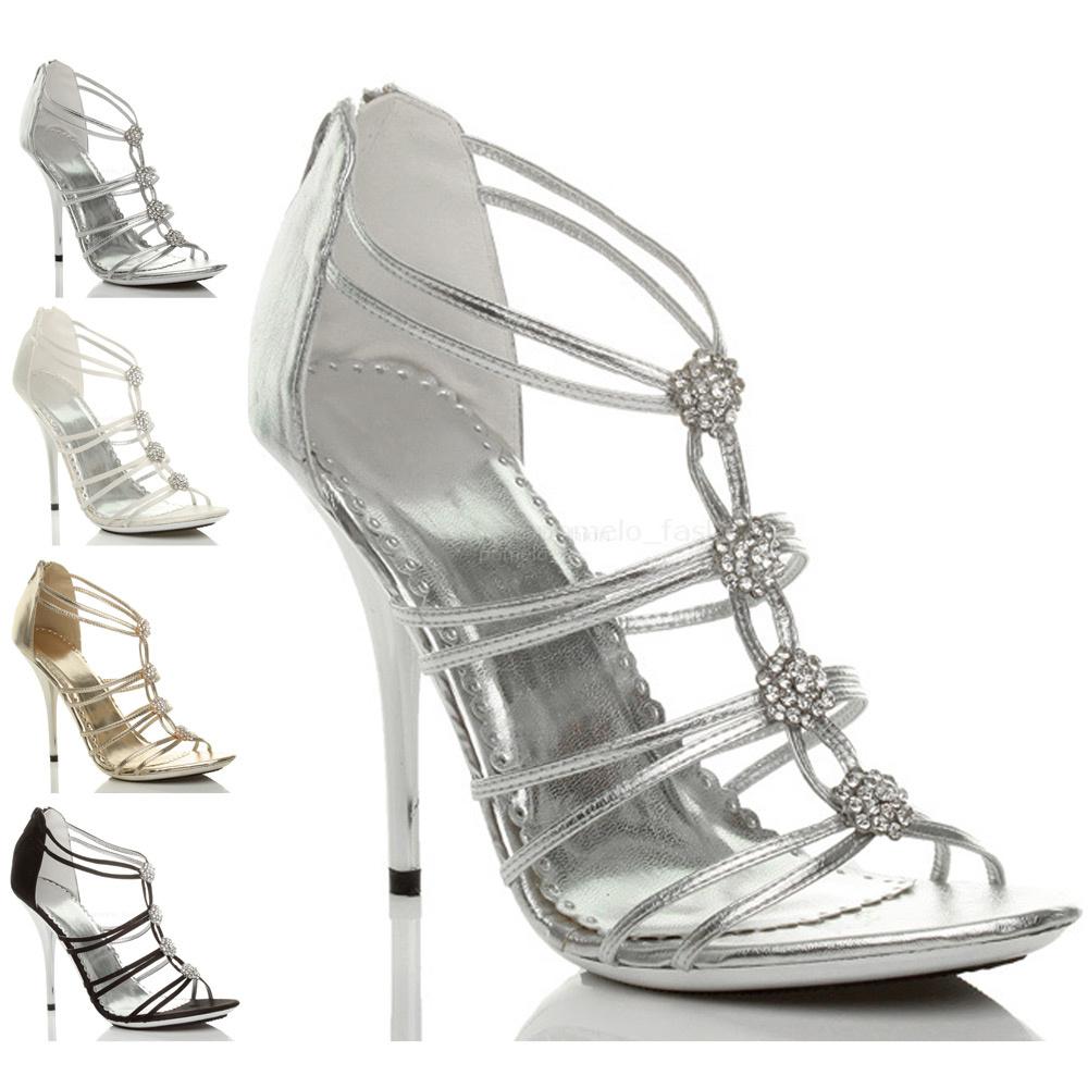 WOMENS-LADIES-HIGH-METAL-HEEL-STRAPPY-DIAMONTE-EVENING-WEDDING-SANDALS-SIZE