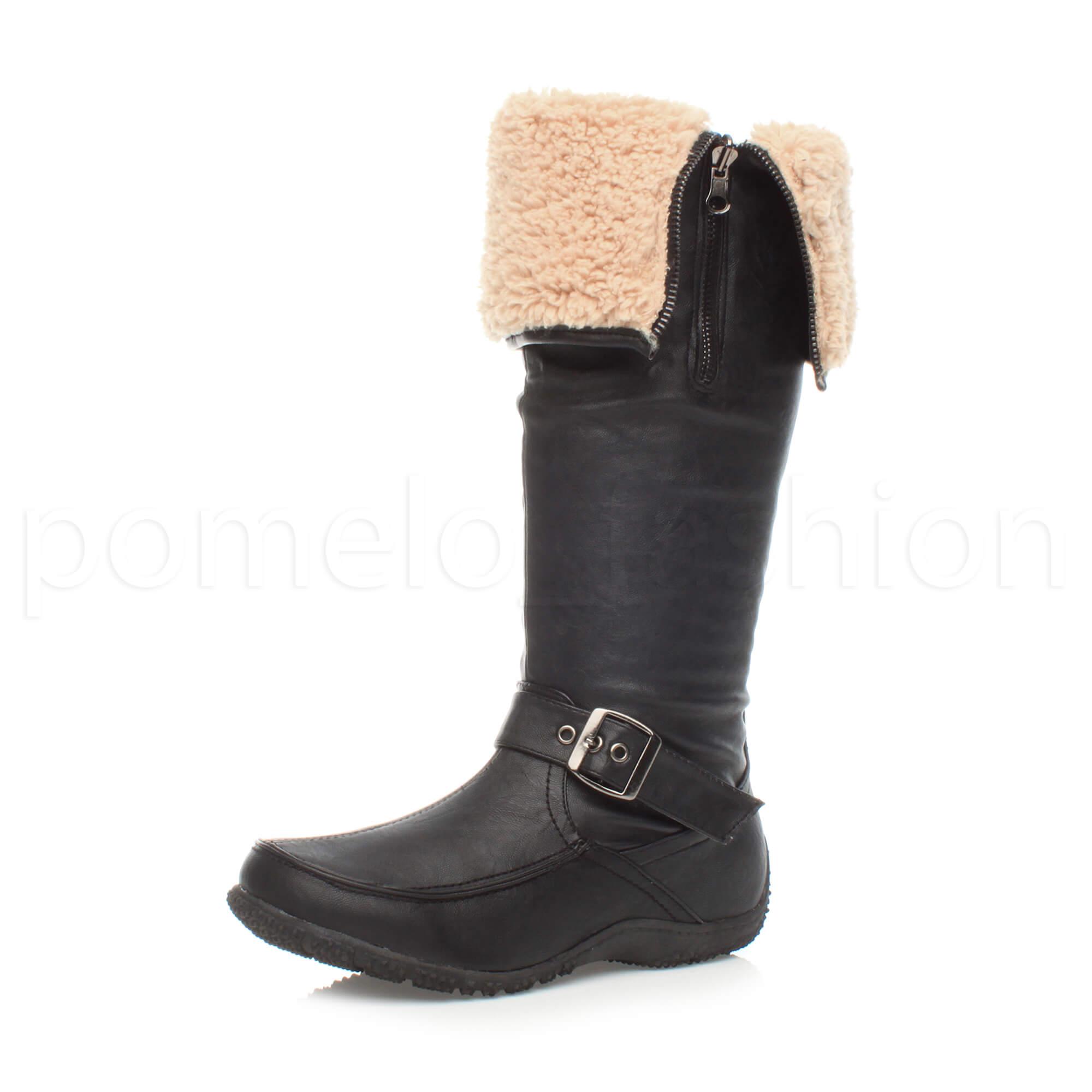 womens flat low wedge heel fur cuff zip winter knee