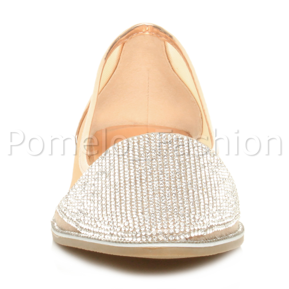 WOMENS LADIES FLAT POINTED TOE MESH DIAMANTE SPARKLY DOLLY EVENING SHOES SIZE