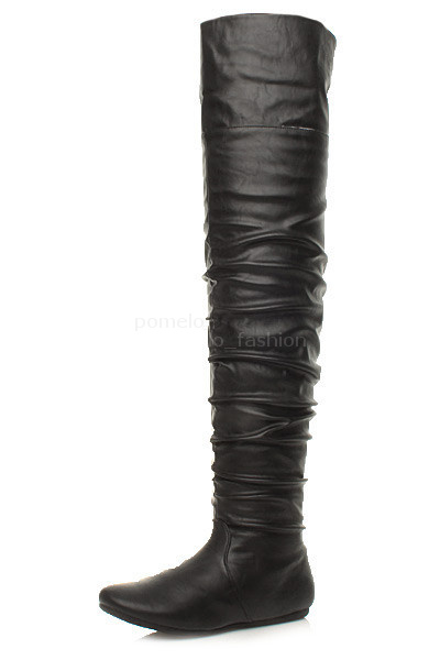 WOMENS-LADIES-FLAT-OVER-THE-KNEE-THIGH-ZIP-FOLD-CUFF-PIRATE-HIGH-BOOTS-SIZE