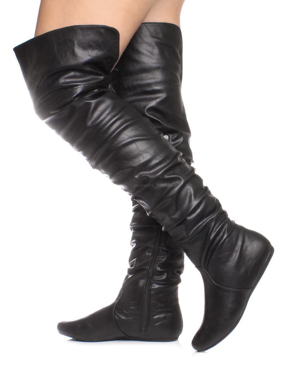 womens flat the knee thigh zip fold cuff