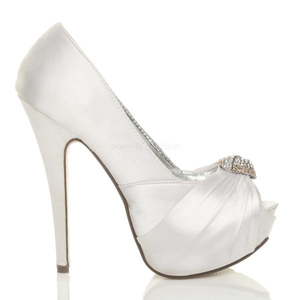 WOMENS LADIES BRIDAL WEDDING PEEP TOE HIGH HEEL PLATFORM SANDALS SHOES SIZE