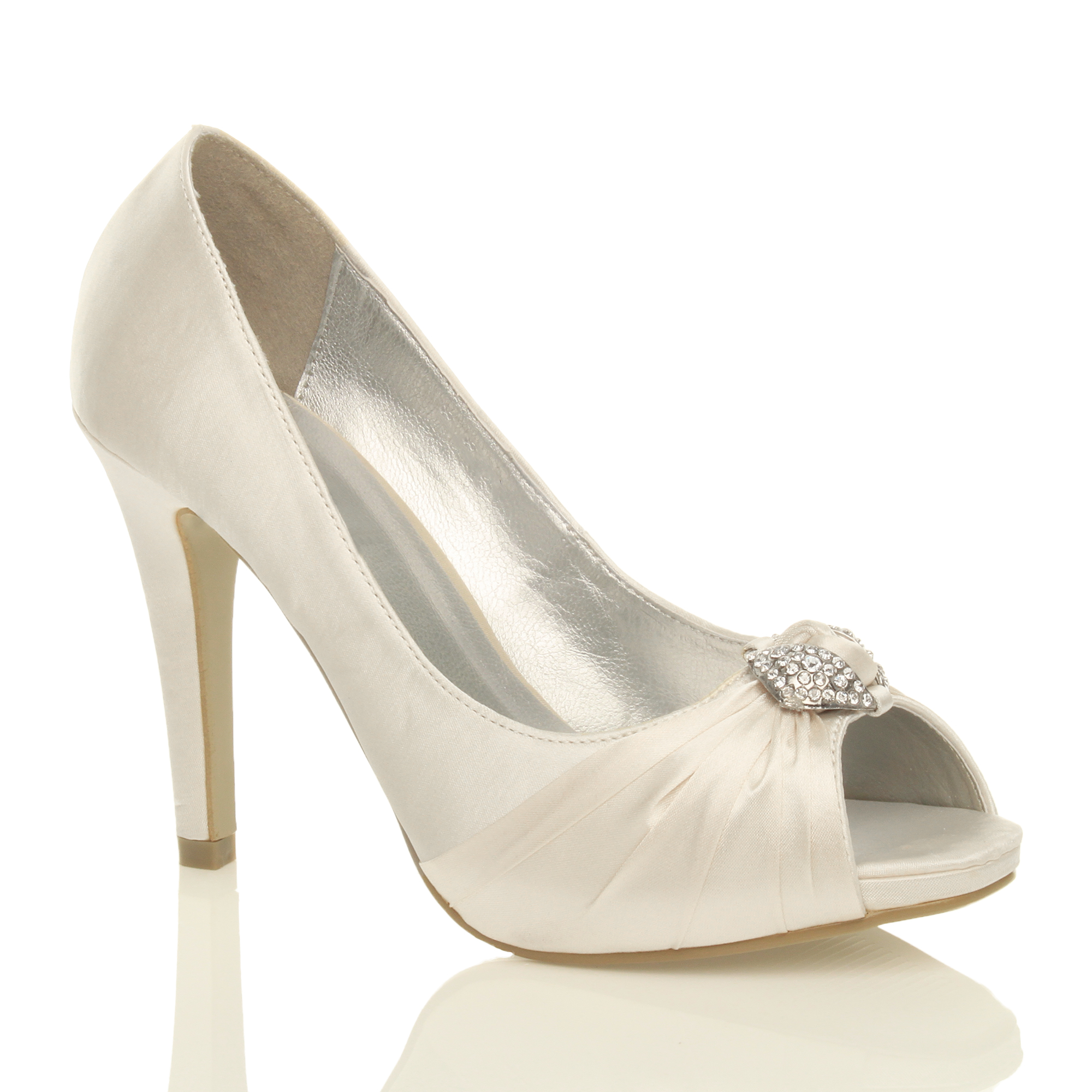 WOMENS LADIES HIGH HEEL PROM BRIDAL WEDDING PEEP TOE COURT SHOES SANDALS SIZE
