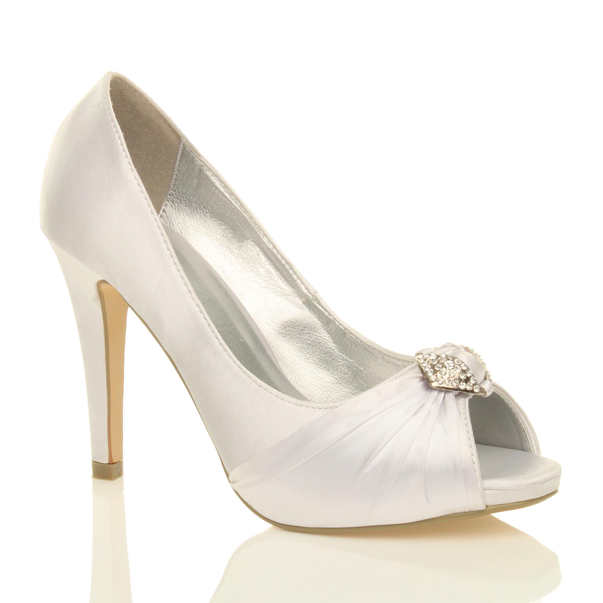 womens high heel prom bridal wedding peep toe court