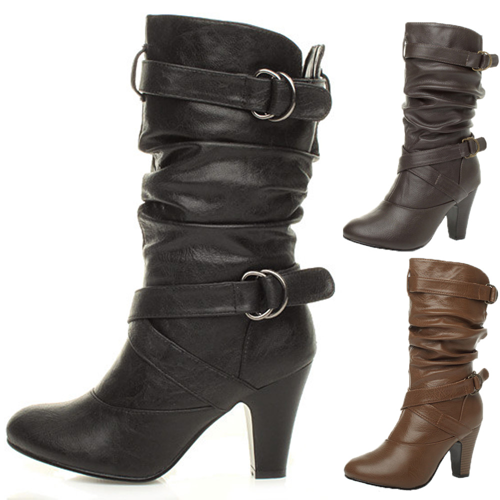 womens buckle mid high heel zip ruched slouch calf