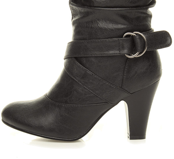 WOMENS-LADIES-BUCKLE-MID-HIGH-HEEL-ZIP-RUCHED-SLOUCH-CALF-BOOTS-SIZE