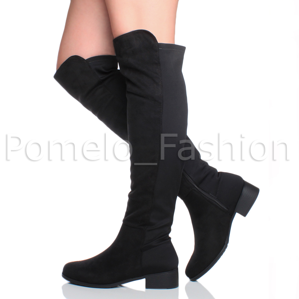 womens flat low heel zip chain stretch high