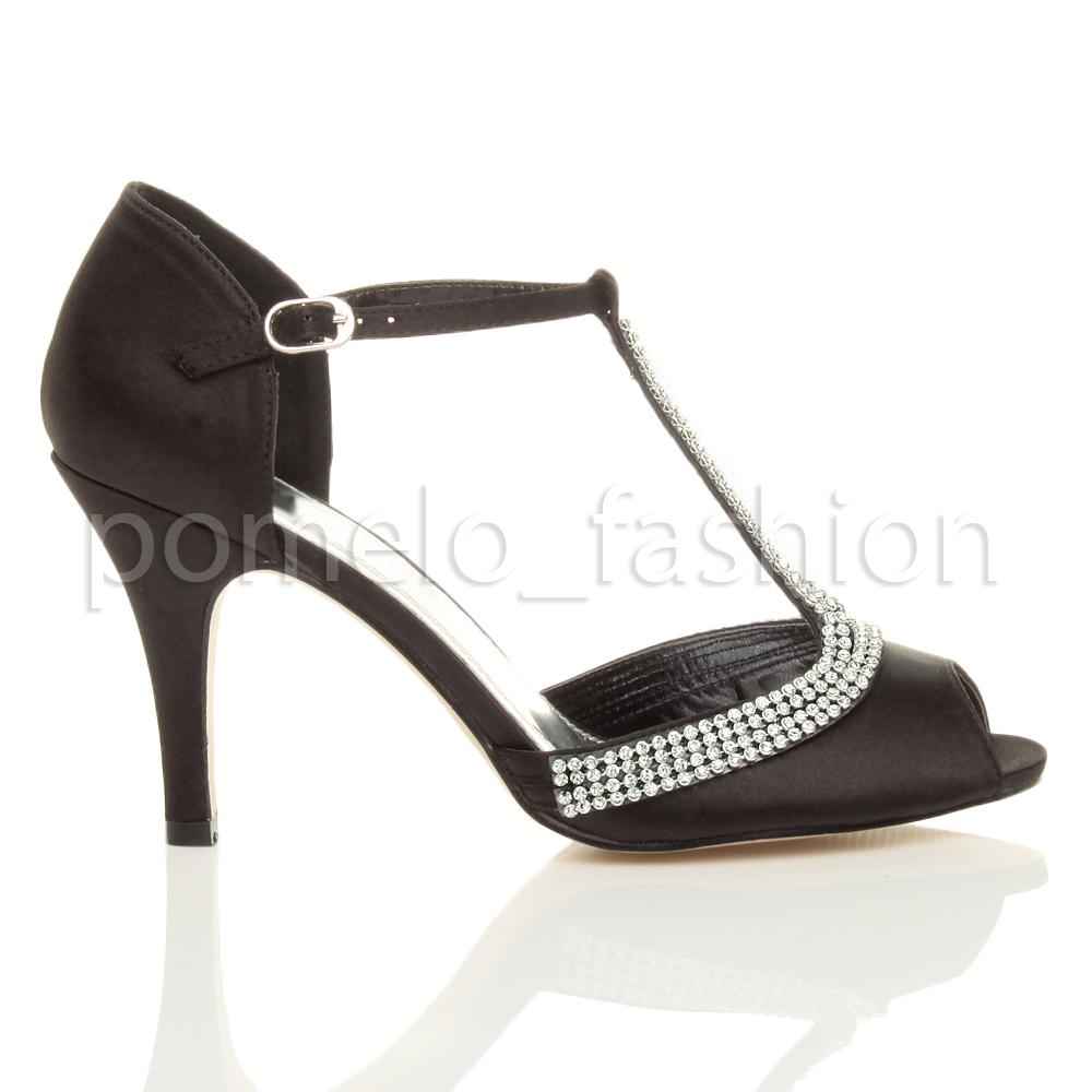 womens high heel peeptoe diamante t bar wedding