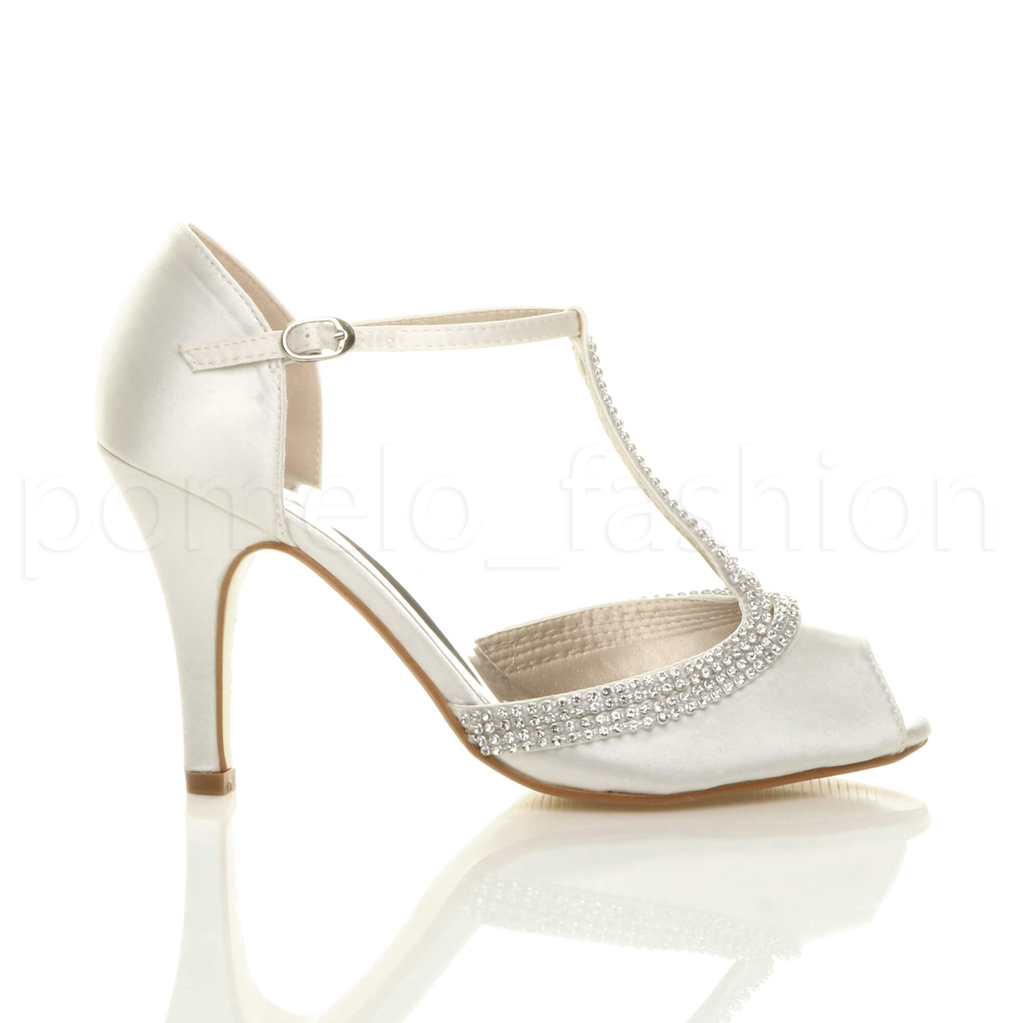 WOMENS LADIES HIGH HEEL PEEPTOE DIAMANTE T-BAR WEDDING