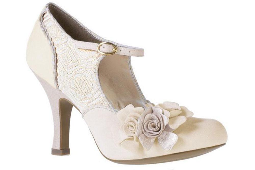 Ruby Shoo Emily Vintage Wedding Gold Cream Mary Jane High Heel Shoes Sz UK 3 8