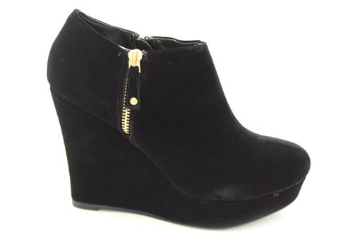 chaussures compens es avec fermeture clair dor e femmes noir ebay. Black Bedroom Furniture Sets. Home Design Ideas